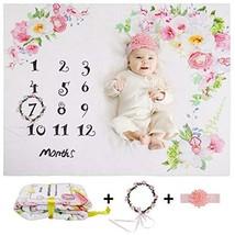 Baby Monthly Milestone Blanket, Premium Flannel Fleece, Includes Floral ... - $30.80