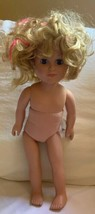 "2013 CITITOY VINYL 18"" DOLL SLEEP BLONDE BLUE EYES Used Kid's Play Cute - $27.73"