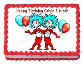 THING ONE & THING TWO Cat in the Hat DR. SEUSS party cake topper cake image - $7.80