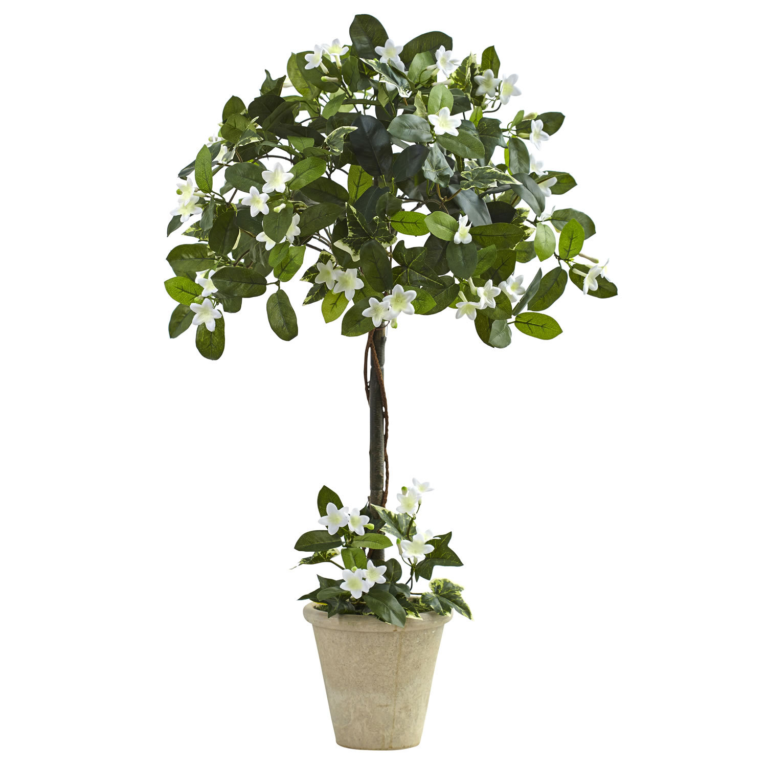 3' Stephanotis Topiary w/Planter, Nearly Natural