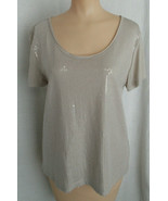 H & M Small Top Sequin Embossed Top Distressed Cut Seam Neckline Deep Sc... - $19.79