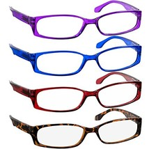 Reading Glasses 4.00 Purple Red Blue Tortoise F503 4 Pack - $22.73