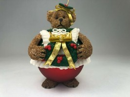 Traditions Glass Girl Teddy Bear w/ Wreath Roly Poly Christmas Ornament ... - $9.85