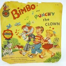 Cricket Bimbo & Punchy Clown 45 RPM Unbreakable Record C54B Vintage 1953... - $18.69