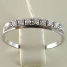 White Gold Ring 750 18k, veretta 9 diamonds carat total 0.28, Flat Shank image 2