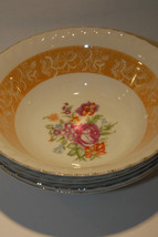 SET OF 3 THREE FLORAL GOLD GILT RIM MADE IN JAPAN VINTAGE SOUP CEREAL BO... - $24.99