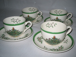 Spode Christmas Tree England cups and saucer 8-pc set Excellent - $19.35