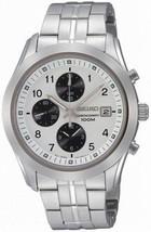 Seiko mens watches chronograph classic casual  white face black subdials SNDA91 - $168.30