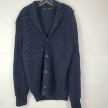 Suitsupply Mens XL Blue Mohair Wool Grandpa Shawl Collar LS Cardigan Swe... - $89.08