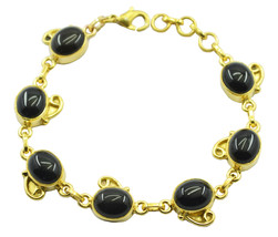 attractive Black Onyx Gold Plated Black Bracelet genuine supply US gift - $29.69