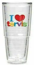 RARE Tervis Tumbler 24oz I LOVE TERVIS Rainbow Red Heart Insulated Doubl... - $27.99