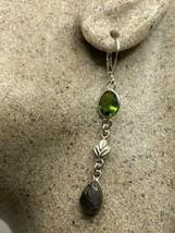 Vintage Green Peridot Rainbow Moonstone Lever Back Earrings 925 Sterling Silver - $84.15