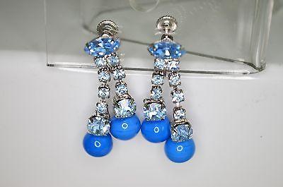 VTG Silver Tone Blue Glass Rhinestone Bead Beaded Choker Necklace Earrings