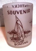 1960'S RETRO HAZEL ATLAS-- FROSTED SOUVENIR KENTUCKY LAKE SHOT GLASS TUM... - $10.95
