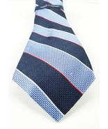 NEW MENS TOMMY HILFIGER GRENADIN STRIPE BLUE SILK NECK TIE - $25.73