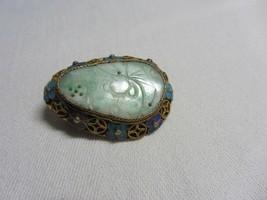 Vtg Carved Pierced Jade Pin Brooch Silver Filigree & Enamel China Chinese - $118.79
