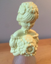 70s Avon Garden Girl yellow & frosted glass woman cologne bottle (Sweet Honesty) image 2