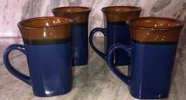 Royal Norfolk Blue/Brown Stoneware Coffee Mugs Dinnerware Cups-Set Of 4-SHIP24H - $29.58