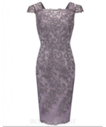 Bodycon Square Cap Sleeves Short Grey Lace Mother of The Bride Dress - £94.25 GBP+
