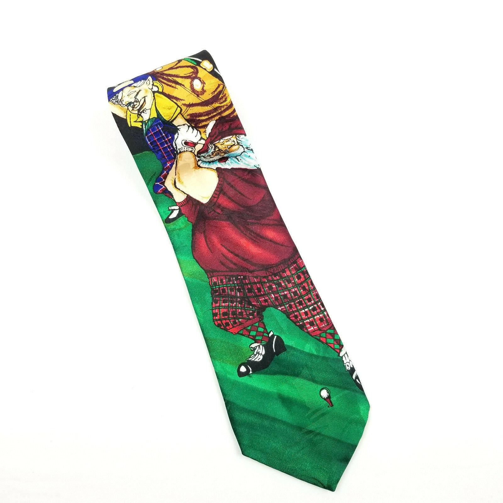 Addiction Funny Christmas Tie Golfing Santa with Elves Necktie