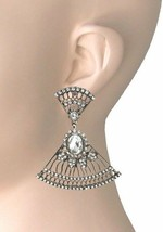 """2.25"""" Long Antique Gold Tone Dainty Filigree Clip On Earrings, Urban Casual Chic - $14.13"""