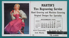 PIN-UP GIRL Long Pink Dress - 1960 INK BLOTTER AD for Tires Regrooving S... - $5.85
