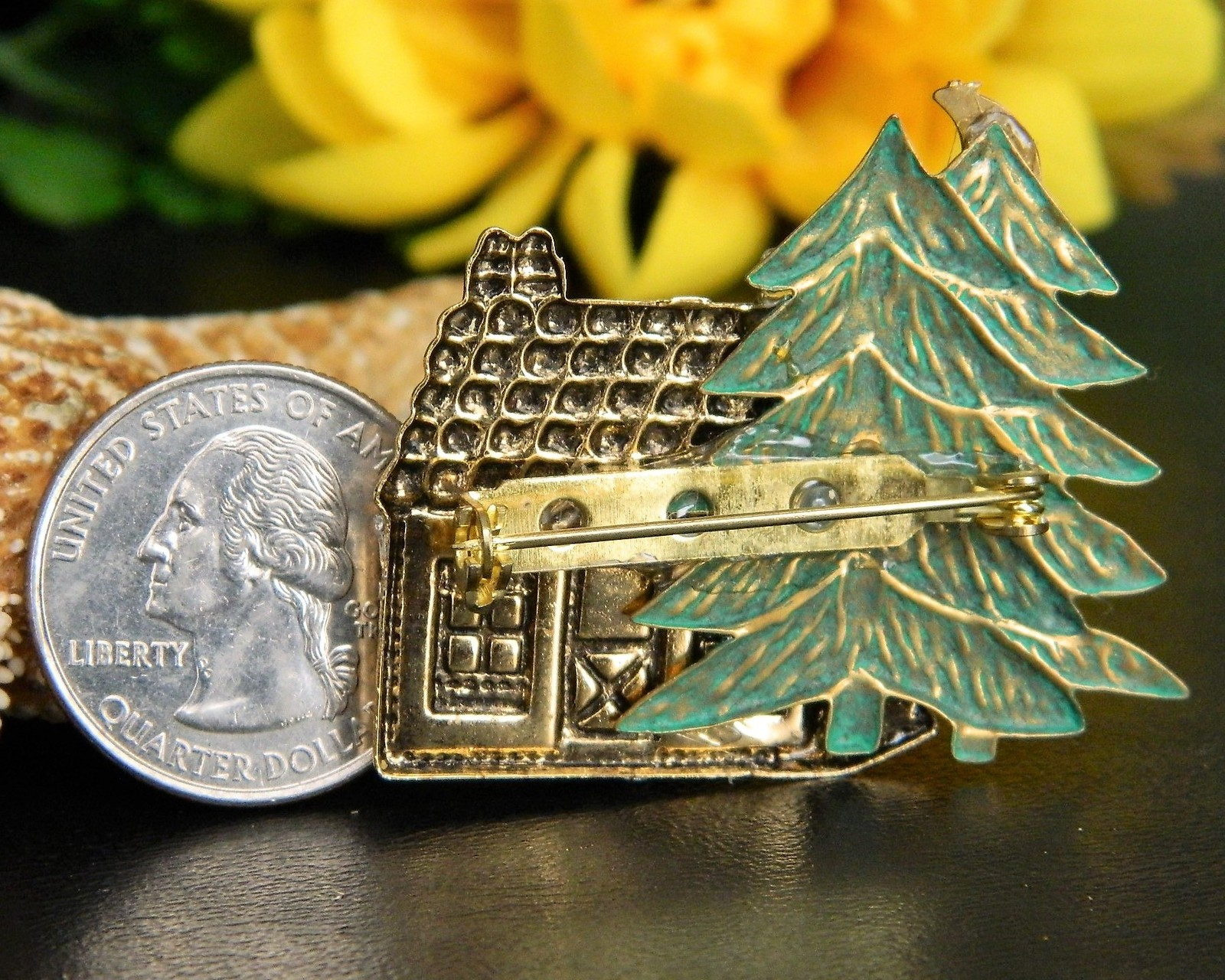 Moose Cabin Pine Tree Brooch Pin Tri Color Copper Silver Gold Figural