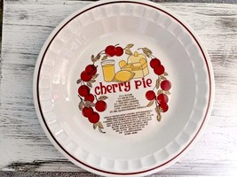 Cherry Pie Baking Dish Plate Pan Recipe Decorated, Ceramic, Holidays Vin... - $15.65