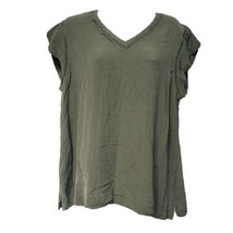 Buffalo David bitton Womens green v neck Short Sleeve shirt Size L - $12.86
