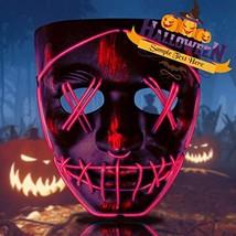 Halloween Mask Purge LED Mask Scary Mask Light Up Mask Glow Mask for (Red) - $18.73