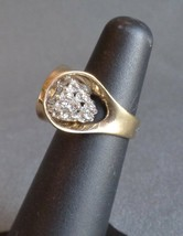 Vintage PANETTA Sterling Silver Cocktail Ring Gold Tone Sparkling Stones... - $29.99