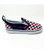 Vans Slip On V (Checkerboard) Black Racing Red Baby Toddler Shoes - $39.95