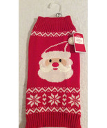Dog Sweater Medium Santa Face Red White NEW - $9.00