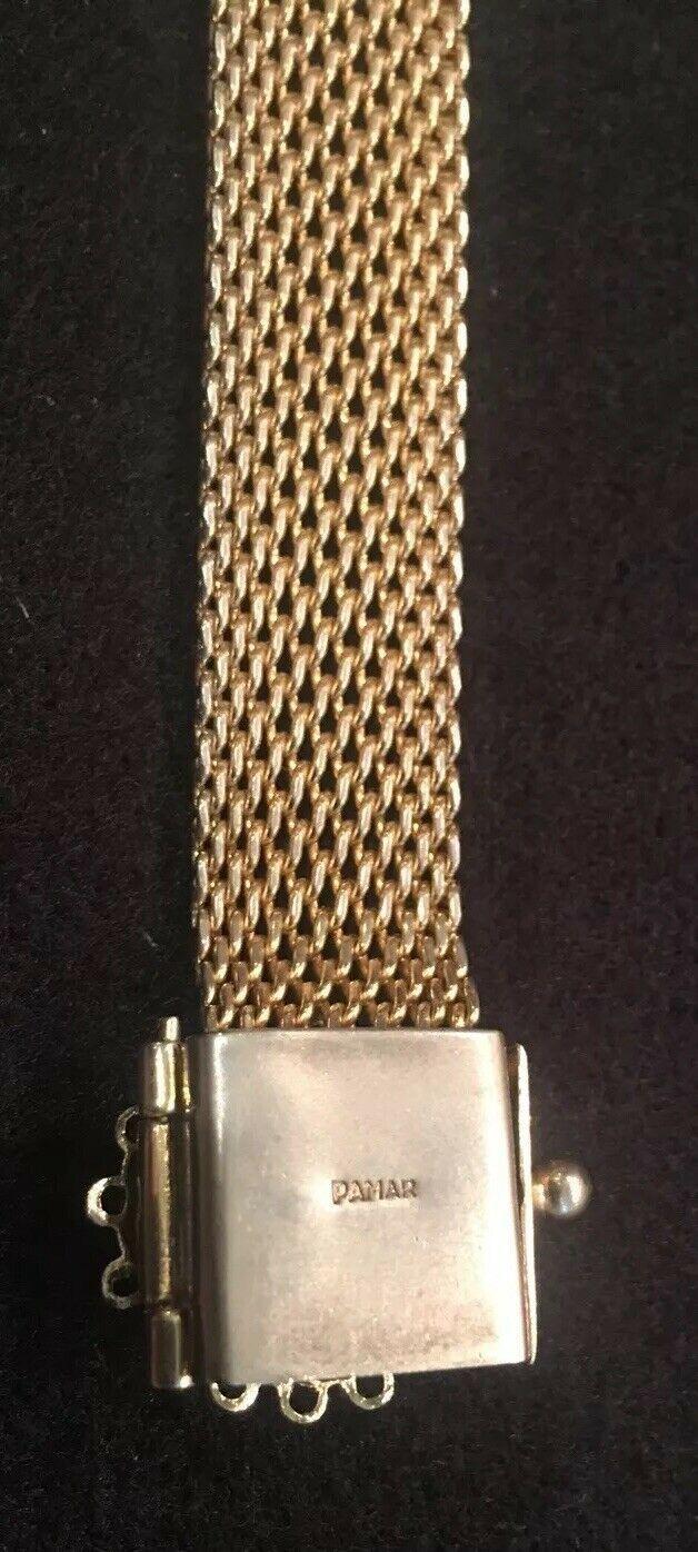 Vintage PAMAR Gold Tone Mesh Bracelet With Tassel