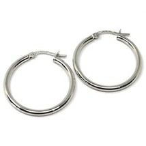 18K WHITE GOLD ROUND CIRCLE EARRINGS DIAMETER 20 MM, WIDTH 2 MM, MADE IN ITALY image 1