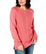 Karen Scott Womens Pink Rose Marl Cotton V-Neck Textured Sweater Size Me... - $19.57