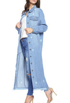 Women's Oversize Long Button Up Distressed Cotton Denim Classic  Jean Jacket image 3