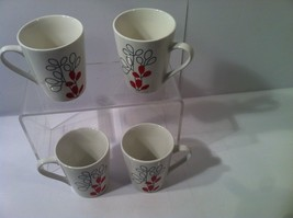 GIBSON--SCARLET LEAVES---SET OF 4 COFFEE MUGS/ CUPS---SHIPS FREE----EXCE... - $30.55