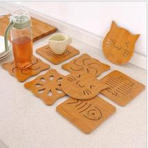 (4)Creative Cat Shape Mat Wood Hollow Heat Insulation Non-slip Dinner Bowl Cup M - $14.00