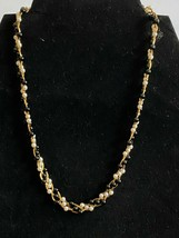 Trifari Signed Gold Tone Faux Pearl & Black Twisted Necklace and Bracelet  - $13.37