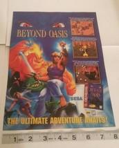 Beyond Oasis Sega Genesis Video Game Print Ad Advertisement Page - $3.75