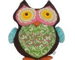 "Embroidered Multicolored Owl Bird Plush Stuffed Animal 12.5"""