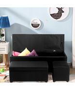 Storage Ottoman Faux Leather Sofa Bench Foot Rest Stool Seat Chest Toy B... - $129.99