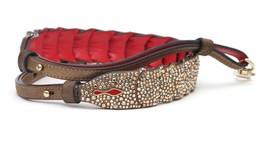 CHRISTIAN LOUBOUTIN Bag Shoulder Strap ARTEMIS Crystals Suede Red Leathe... - $760.00