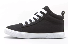 Cat & Jack Girls' Quincey Black Cream Mid-Top Lace Up Sneakers Shoes NWT image 2