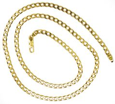"SOLID 18K GOLD GOURMETTE CUBAN CURB LINKS CHAIN 4mm, 24"", STRONG BRIGHT NECKLACE image 3"
