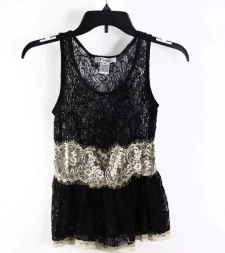 Primary image for Pinky Sexy Lacy Black Beige Sheer Lace Sleeveless Peplum Tank Top XS