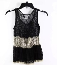Pinky Sexy Lacy Black Beige Sheer Lace Sleeveless Peplum Tank Top XS - $7.99