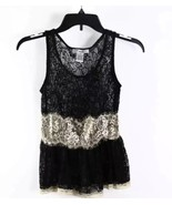 Pinky Sexy Lacy Black Beige Sheer Lace Sleeveless Peplum Tank Top XS - $7.99