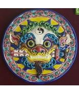 (1) Vintage Taiwan Cochin FOO DOG LION HEAD Koji Ceramic Art Framed Plaq... - $235.19